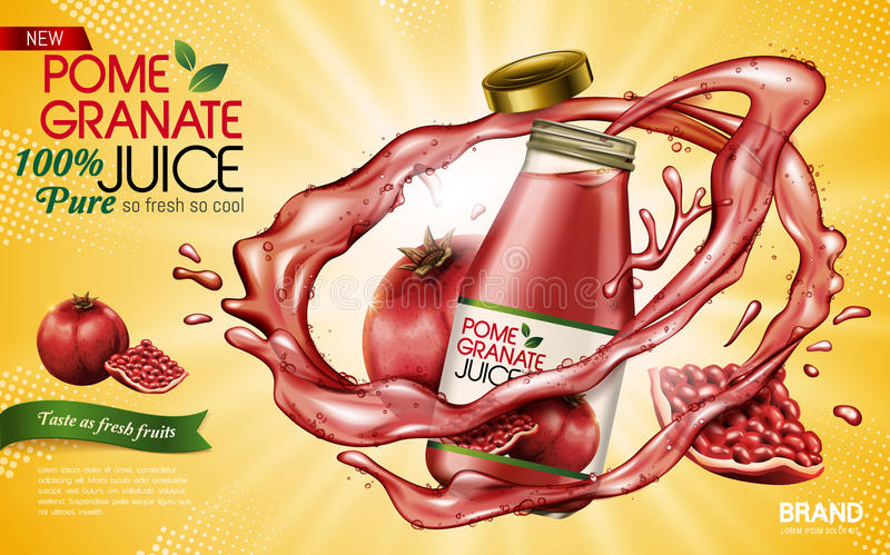 Pomegranate juice ad. Pomegranate juice contained in glass bottle with pomegranates, yellow background 3d illustration royalty free illustration