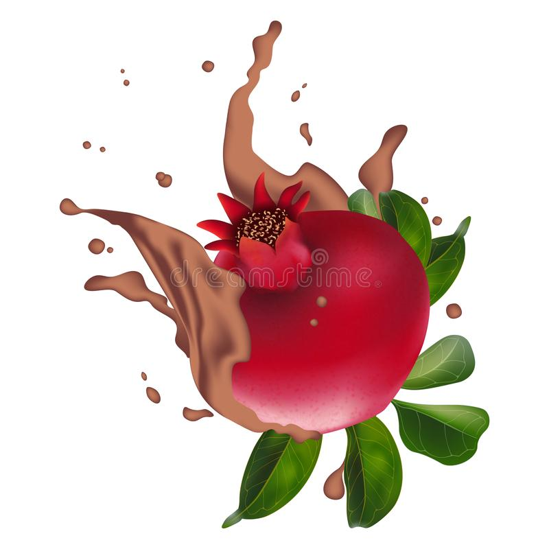 Pomegranate juice ads with cacao splashing. Good for packaging, cosmetics, cocktail, spa, pomegranate chocolate splashing, health vector illustration