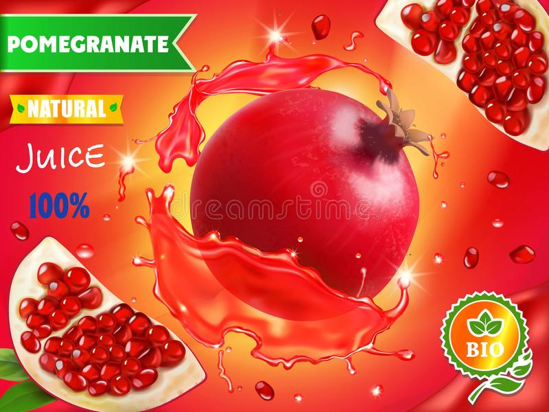 Pomegranate juice ads, realistic fruit in red juice advertising vector illustration