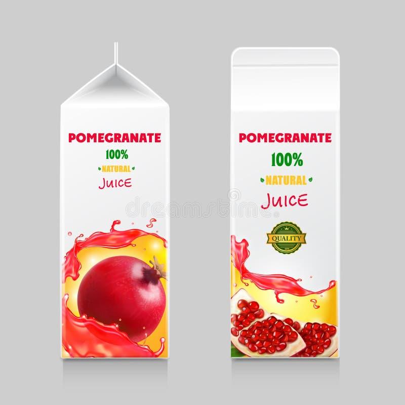 Pomegranate juice cardboard package box design vector illustration royalty free illustration