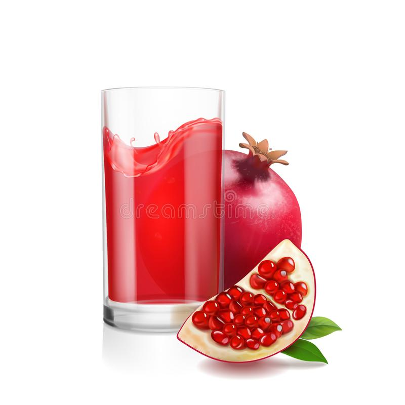 Pomegranate juice in a glass. Garnet Fresh isolated on white background. royalty free illustration
