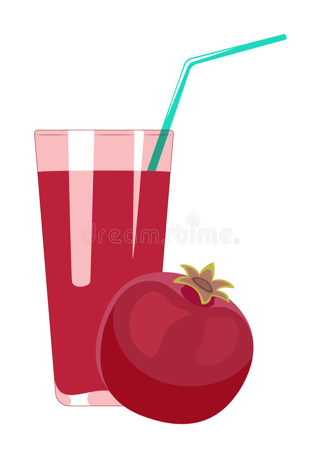 Pomegranate juice in glass is isolated on a white background. Fr vector illustration