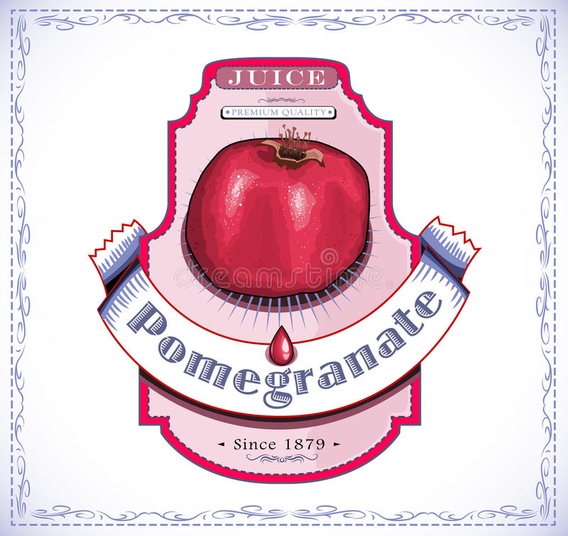 Pomegranate juice label royalty free illustration