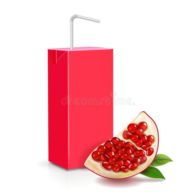 Pomegranate juice package box realistic stock illustration