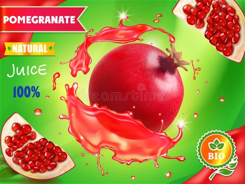 Pomegranate juice package design, garnet fruit in red juice splash ads, 3d illustration stock illustration