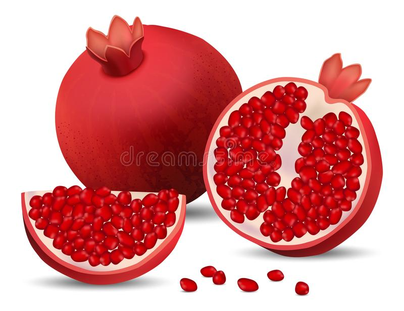 Pomegranate juice seeds icons set, realistic style stock illustration