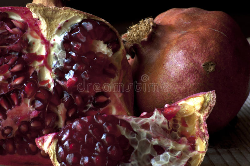 Pomegranate section with beautiful chromatic