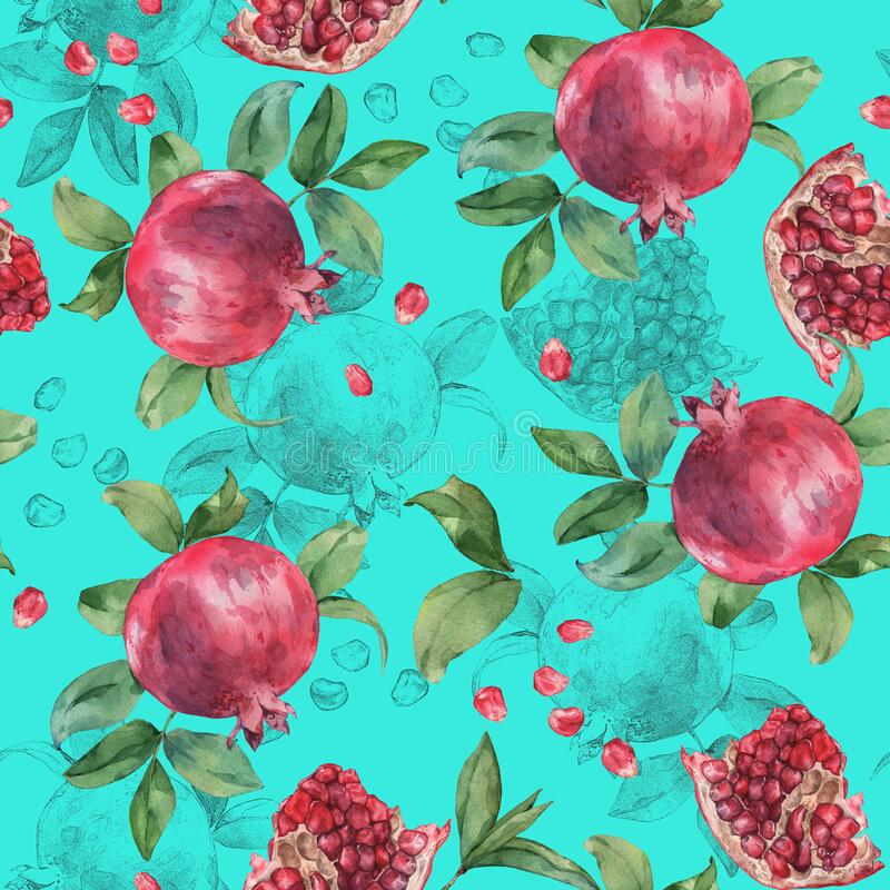 Pomegranate and pomegranate seeds. Seamless pattern. Watercolor painting. stock photography