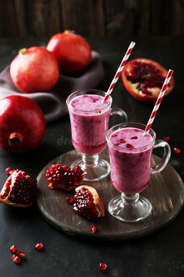 Pomegranate smoothie stock photos