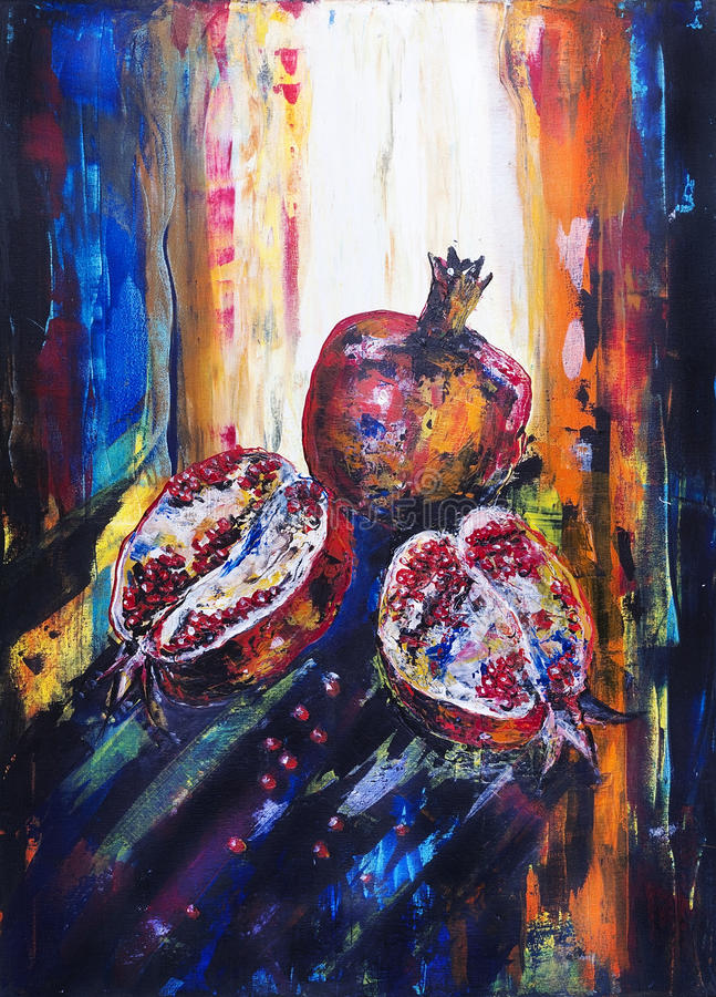 Pomegranate in solar morning light. Fruits of pomegranate in solar summer morning light. The acrylic abstract handmade painted art on canvas royalty free illustration