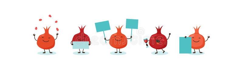 Pomegranate, symbols of Jewish holiday Rosh Hashana, New Year. Rosh Hashanah Jewish holiday banner design with funny. Cartoon characters. Vector illustration stock illustration