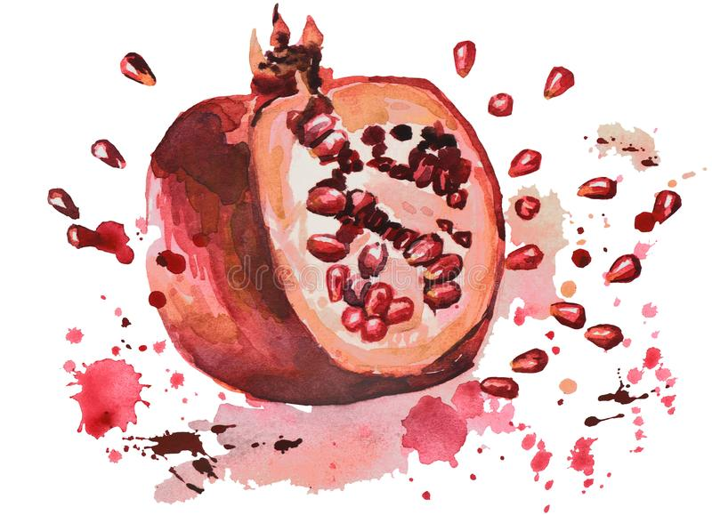 Pomegranate with the sparks of juice and grains royalty free stock images