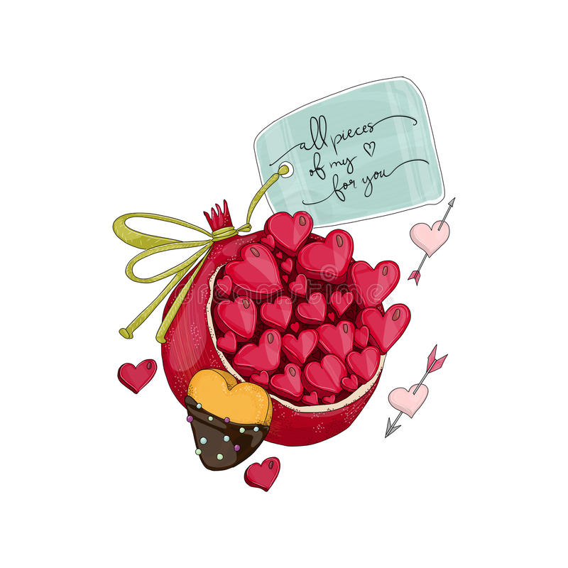 Free Pomegranate With Heart Shape Cookie. Stock Photos - 86675593
