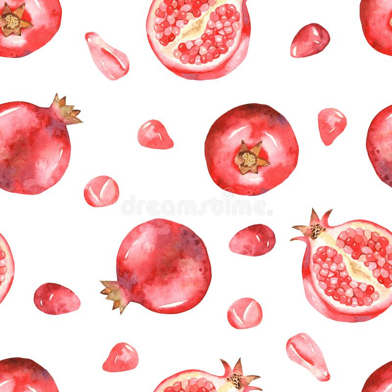 Watercolor seamless pattern of pomegranates, halves of pomegranates on a white background. Pomegranates, halves of pomegranates on a white background. Watercolor vector illustration