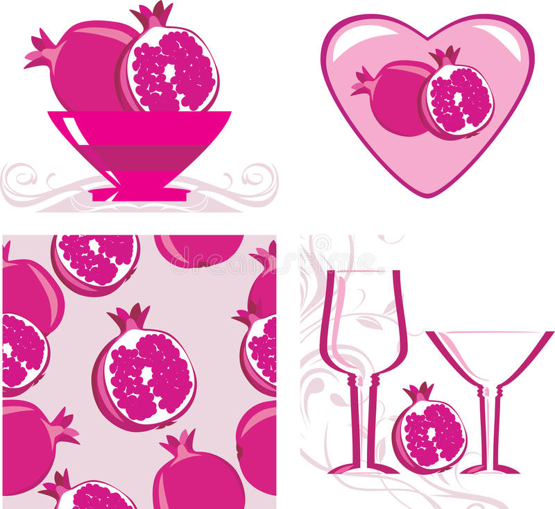 Pomegranates. Menu design stock image