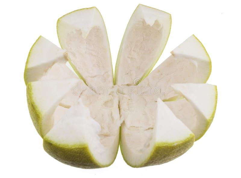 Pomelo προετοιμασία φρούτων για την κατανάλωση στοκ φωτογραφίες