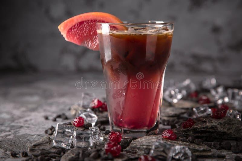 Pomelo alcohólico o sin alcohol, fruta cítrica, cóctel de la baya con el licor, vodka, champán o martini imagenes de archivo