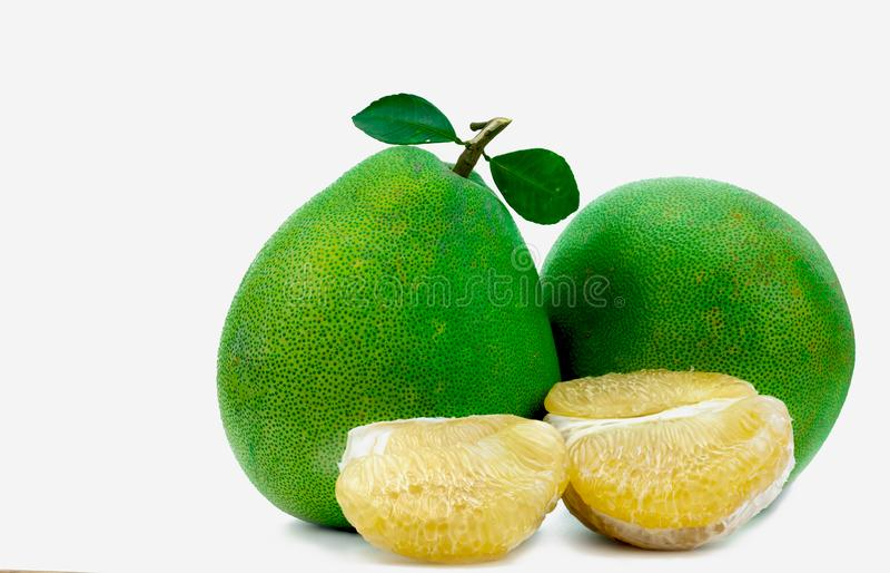 Pomelo braja bez ziaren odizolowywających na białym tle Tajlandia pomelo owoc Naturalny źródło witamina C i potas Zdrowy obraz stock