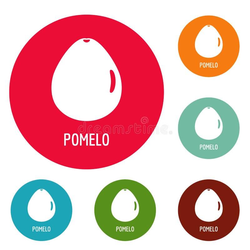 Pomelo icons circle set. Isolated on white background royalty free illustration