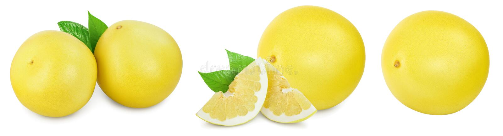 Pomelo with slice and leaf isolated on white background. Set or collection. royalty free stock image