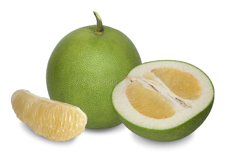 Pomelo with thick green dimpled skin. royalty free stock photos