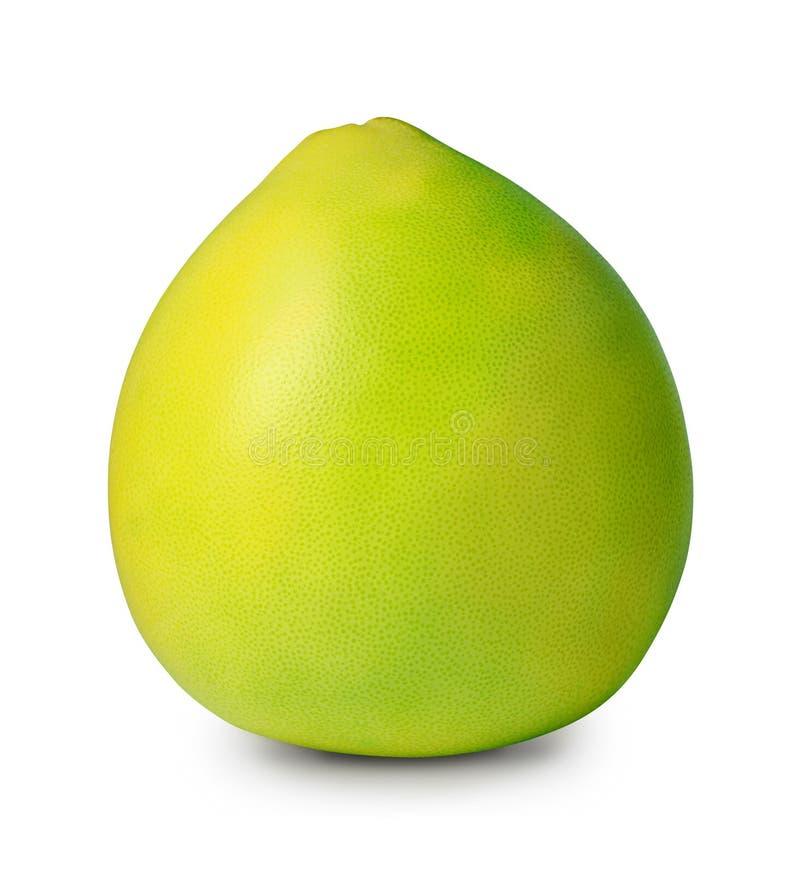 Pomelo verde aislado en blanco con la trayectoria de recortes imagen de archivo