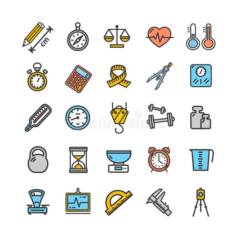 Pomiarów znaków koloru ikony Cienki Kreskowy set wektor ilustracja wektor