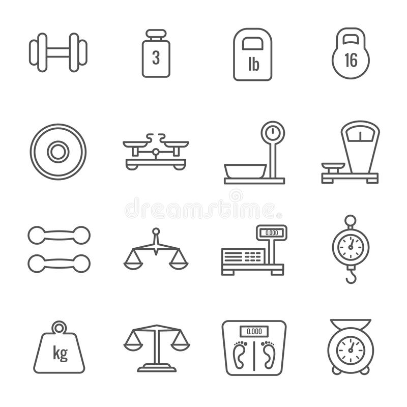 Pomiar, ciężar waży, libra, równowag cienkie kreskowe wektorowe ikony ilustracji