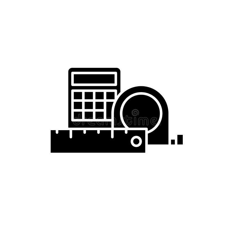 Pomiar czarna ikona i obliczenia, wektoru znak na odosobnionym tle Pomiaru i obliczenia pojęcia symbol ilustracja wektor