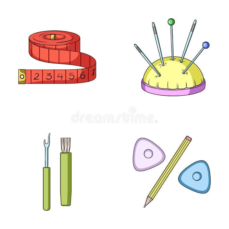 Pomiarowa taśma, igły, kredki i ołówek, Szyć lub dostosowywać wytłaczamy wzory ustalone inkasowe ikony w kreskówka stylu wektorze ilustracji