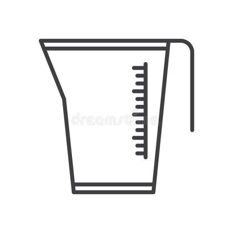 Pomiarowy dzbanek, filiżanki kreskowa ikona, konturu wektoru znak, liniowy stylowy piktogram odizolowywający na bielu ilustracji