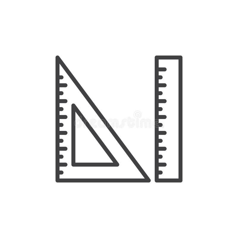 Pomiaru i trójboka władcy linii ikona, konturu wektoru znak, liniowy stylowy piktogram odizolowywający na bielu royalty ilustracja