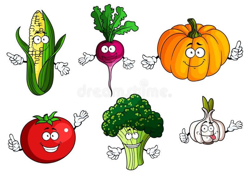 Pomidor, bania, brokuły, kukurudza, rzodkiew i czosnek, ilustracja wektor