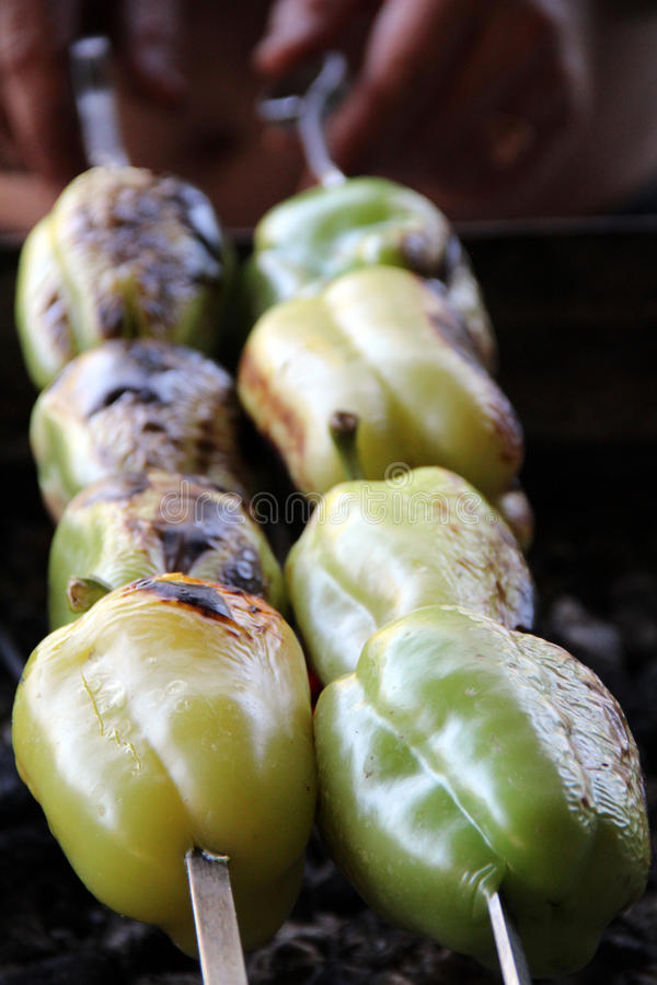 Pomidor & grula Smakowity, wyśmienicie, apetyczny, zdrowy Podpalający grillów warzywa Barbecued warzywa Gotujący na skewer zdjęcia stock