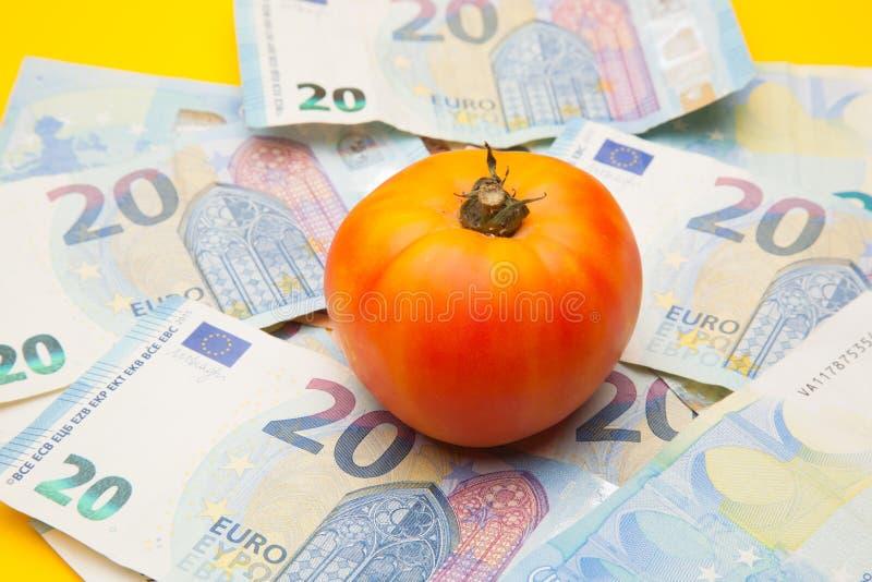 Pomidor i pieniądze, mnóstwo pieniędzy fotografia royalty free