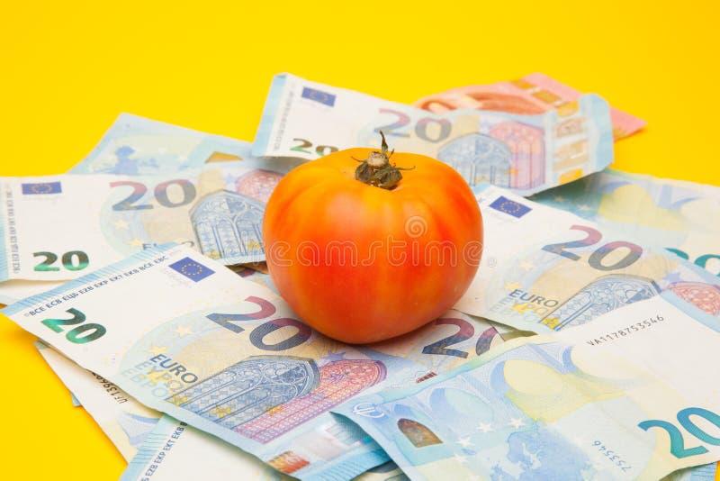 Pomidor i pieniądze, mnóstwo pieniędzy zdjęcia stock