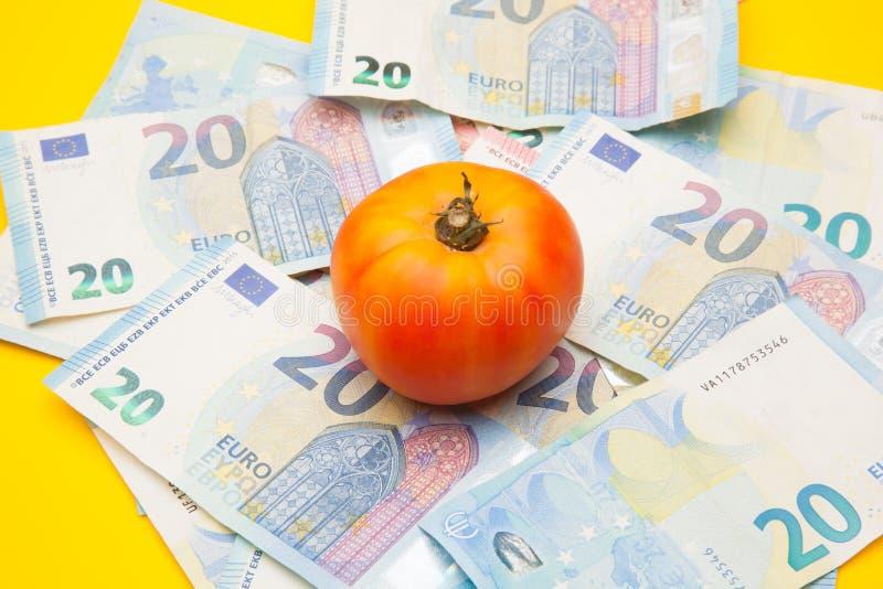 Pomidor i pieniądze, mnóstwo pieniędzy obraz stock