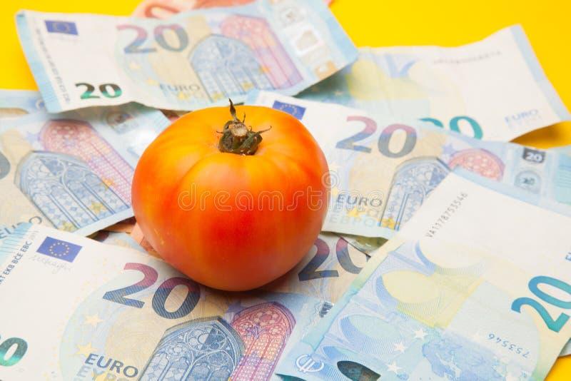 Pomidor i pieniądze, mnóstwo pieniędzy fotografia stock