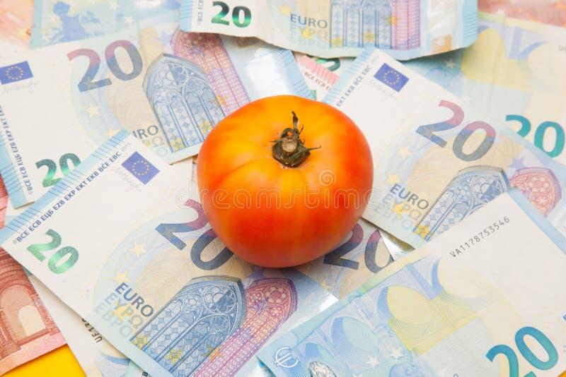 Pomidor i pieniądze, mnóstwo pieniędzy zdjęcie royalty free