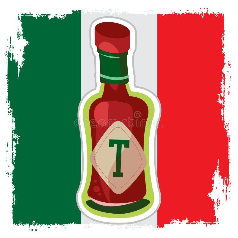Pomidor na tle Meksykańska flaga Ketchup z gor?cym pieprzem gor?cy kumberland ilustracji