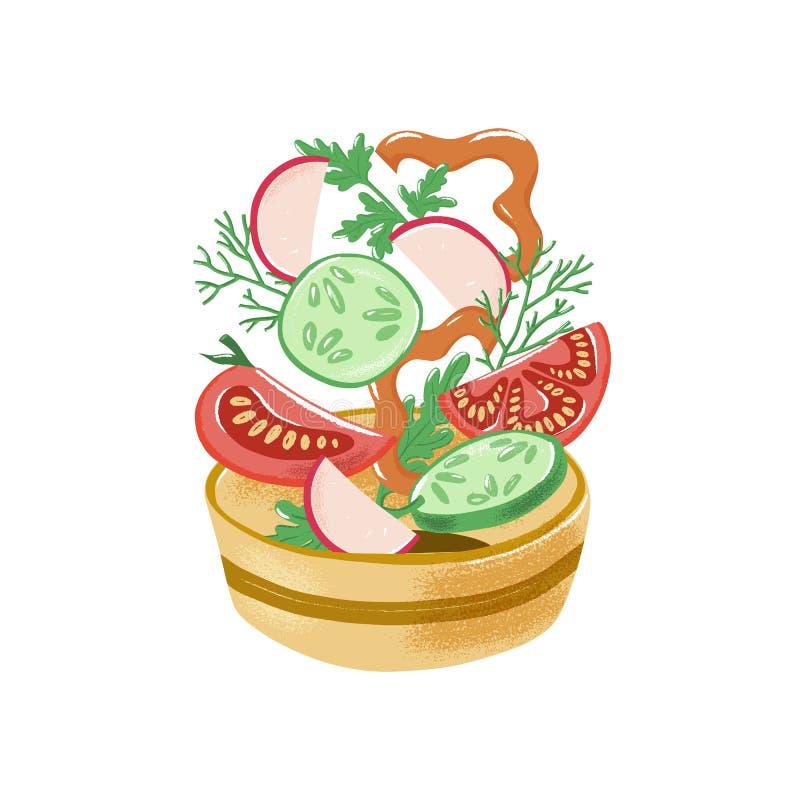 Pomidor, pieprz, rzodkiew, ogórek spada w puchar ilustracja wektor