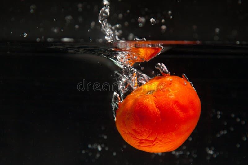 Pomidor spada w wodzie zdjęcia royalty free