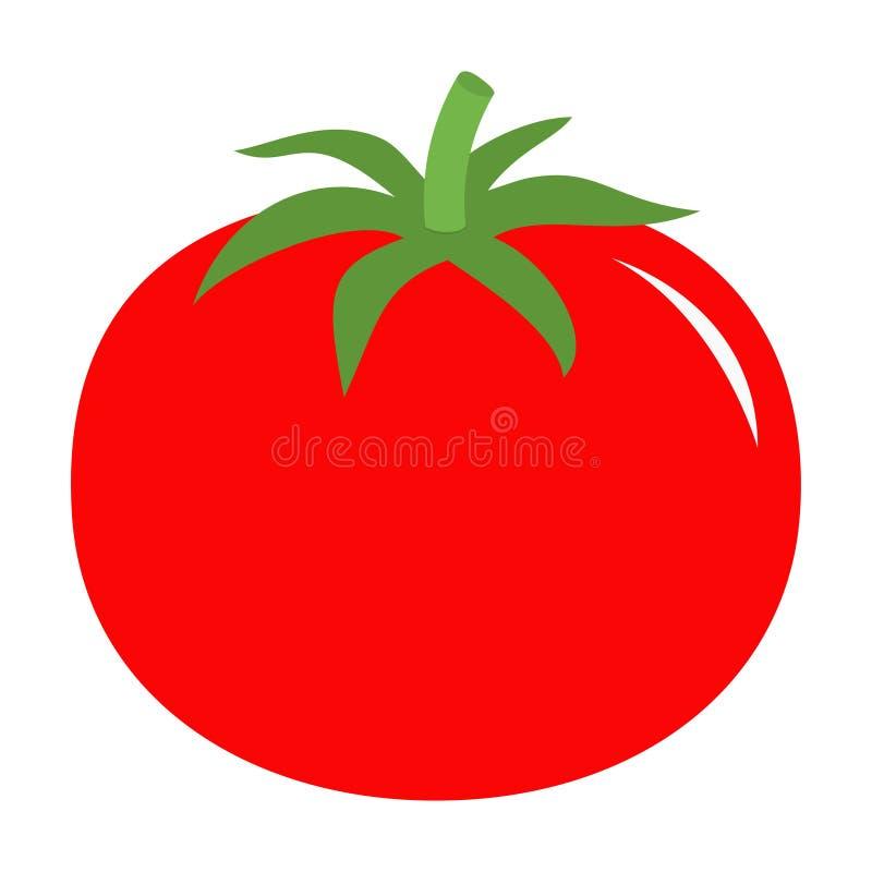 Pomidor z liść ikoną Czerwony kolor Jarzynowa kolekcja Świeży rolny zdrowy jedzenie Edukaci karta dla dzieciaków Płaski projekt B ilustracji
