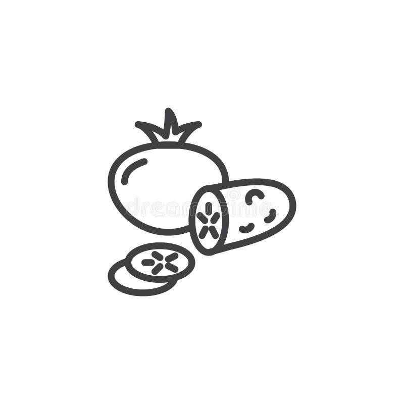 Pomidorowa cała i ogórkowa plasterek linii ikona royalty ilustracja