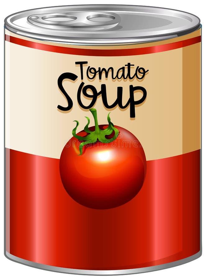 Pomidorowa polewka w aluminiowej puszce royalty ilustracja