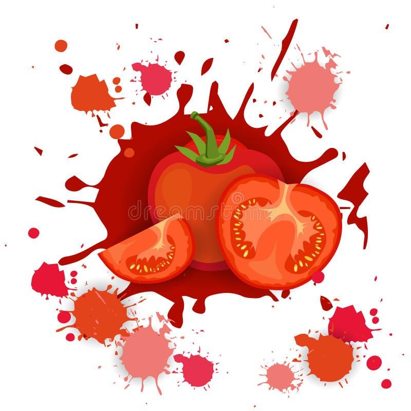 Pomidorowego Jarzynowego logo akwareli pluśnięcia projekta Świeży Naturalny jedzenie ilustracja wektor