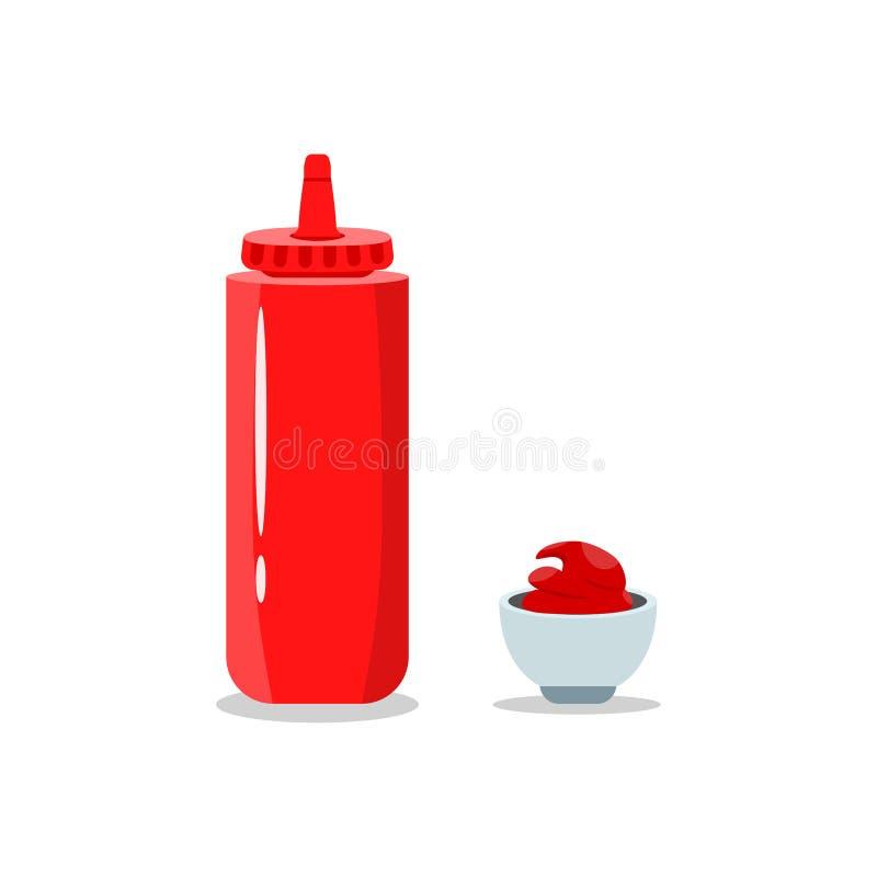 Pomidorowego ketchupu butelka odizolowywająca na tle Kumberland dla hot dog, fast food Wektorowy kreskówka projekt royalty ilustracja