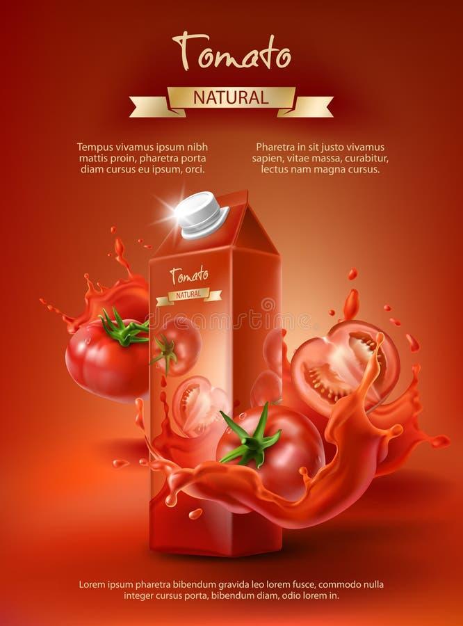 Pomidorowego soku reklama, wektor ilustracja wektor