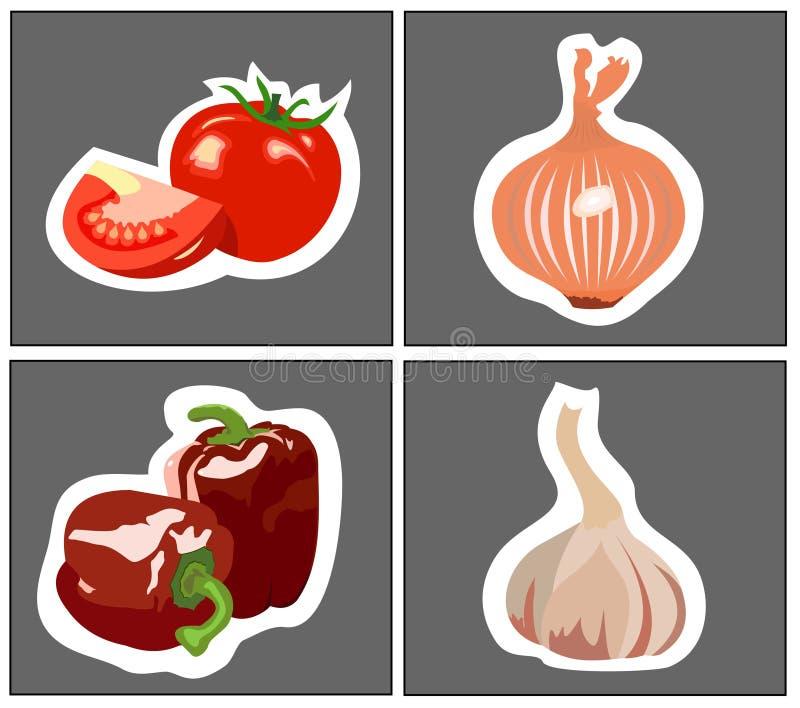 Pomidorowi cebulkowi czosnków pieprze ilustracji
