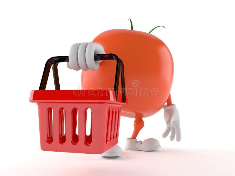 Pomidorowy charakteru mienia zakupy kosz ilustracji